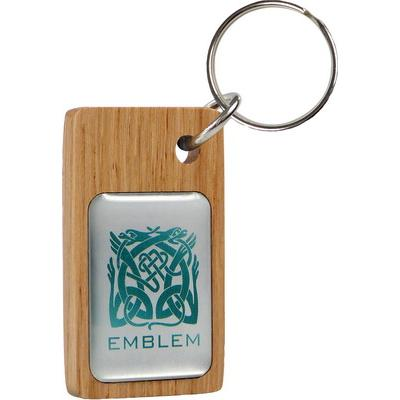 Image of Real Wood Keyring with Domed Metal Insert