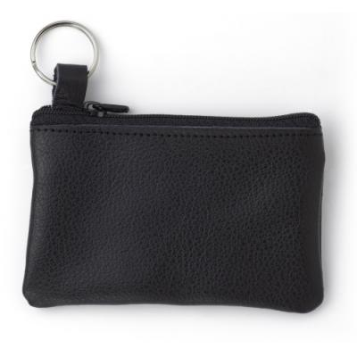 Image of Leather key wallet with metal ring and zipper