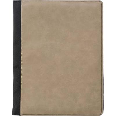 Image of A4 Pad folio with PU cover, a large internal pocket, one smaller sewed on pocket, an elasticated pen loop, and a 50 page lines note pad