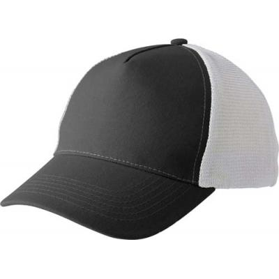 Image of Polyester and mesh five panel baseball cap with Velcro fastening