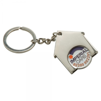 Image of House Shaped Trolley Coin Keyring (Stamped Iron Soft Enamel Infill)